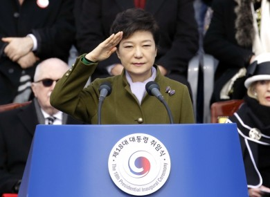 South Korea's new President Park Geun-hye at her inauguration ceremony.