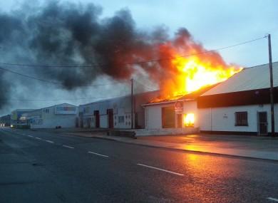 The scene of last night's fire at Ballast Quay in Co Sligo.