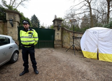 Police outside the home of Boris Berezovsky in Berkshire yesterday