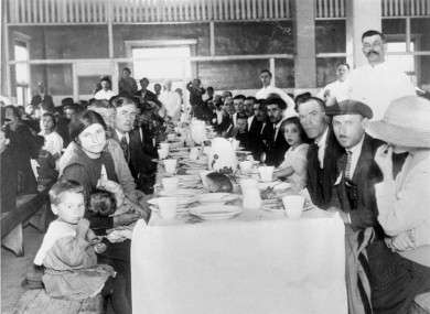 Immigrants eating lunch at Ellis Island in 1947.