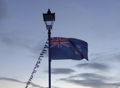 Falkland Islands flag flies on Victory Green in Stanley