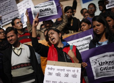 Indians shout slogans during a protest march against gender discrimination and sexual violence in New Delhi in January.