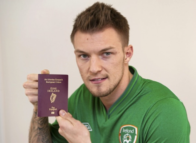 Pilkington with his newly minted passport in January.