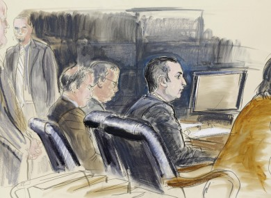 In this courtroom sketch, Gilberto Valle is seen in federal court in New York, Monday, Feb 25, 2013.