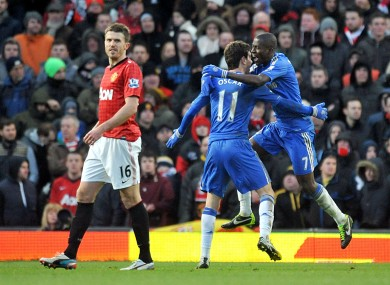 Ramires and Oscar celebrate the Chelsea equaliser.