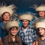No one looks good in these hats, let alone a family of five.