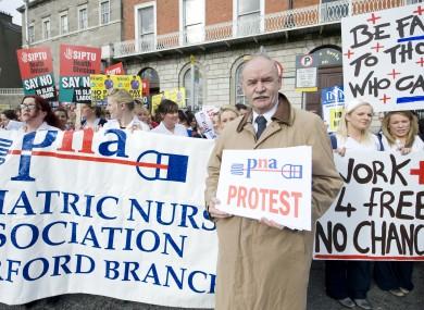 Des Kavanagh at a previous PNA protest in Dublin