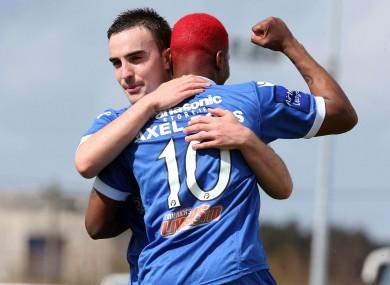 Axel Bossekota celebrates with Shane Tracy.