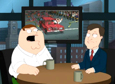 A screen grab from the Family Guy episode 'Turban Cowboy', which aired last month and featured a scene portraying deaths at the Boston Marathon.