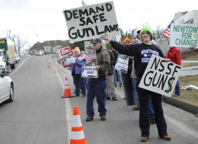 A supporter of gun control at a protest in Connecticut