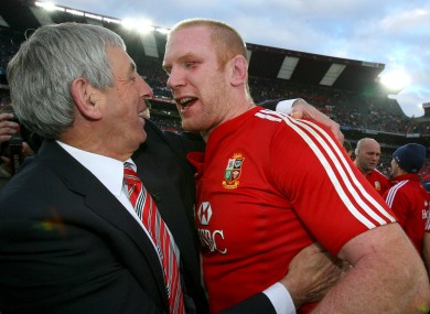 Lions coach, McGeechan, and captain, O'Connell, celebrate in 2009.