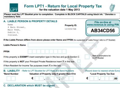 A sample Local Property Tax return form