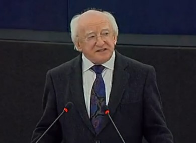 Michael D Higgins speaking in The European Parliament today.