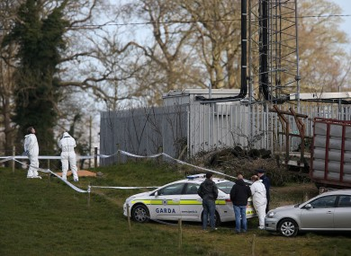 Gardaí investigate the scene at the field in Balheary yesterday