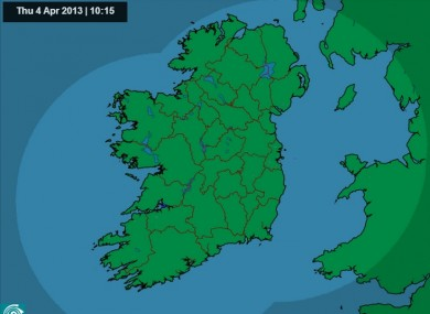 Met Eireann's morning rainfall radar is unusually green.