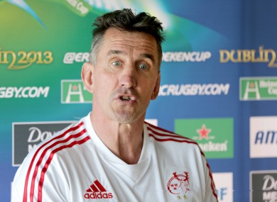 Munster head coach Rob Penney at yesterday's press conference.
