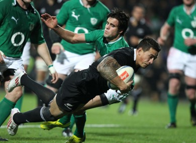 Sonny Bill Williams scores his second try against Ireland in the 60-0 thumping.