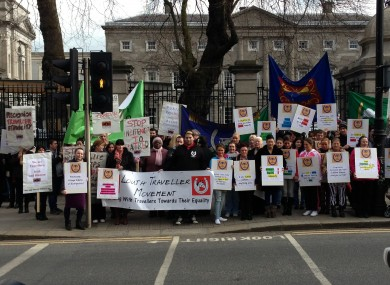 Hundreds of Travellers gathered outside Leinster House at an anti-racism protest last month.