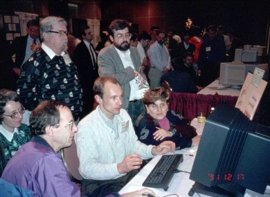 Tim Berners-Lee demonstrates the world wide web to people at a conference in Texas in 1991