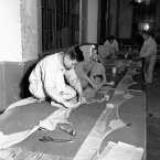 Big marker balloons designed to warn away aircraft from neutral zones being manufactured at the Fujikura Rubber Works in Tokyo in 1951. Japanese workers fashion the balloon on the floor of the factory as they ready it for shipment. (AP Photo)