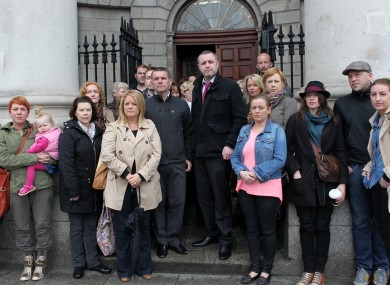 Some of the former residents outside the Four Courts last week