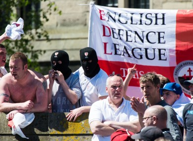 People taking part in an English Defence League protest in Newcastle recently (File photo)