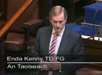 Enda Kenny speaking in the Dáil this morning
