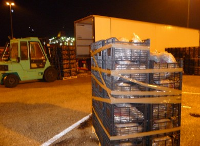 The drugs in front of the lorry they were discovered in