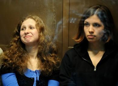 Maria Alyokhina with fellow Pussy Riot member Nadezhda Tolokonnikova last year.