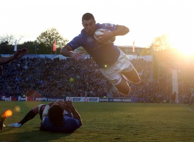 Rob Kearney en-route to his try against Stade Francais.
