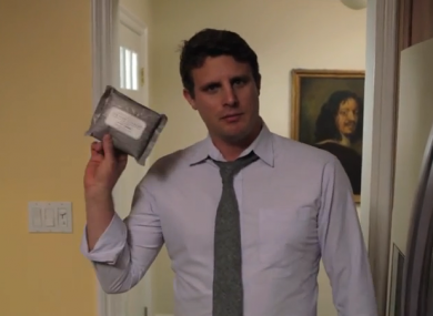 Michael Dublin, holding a package of 'buttwipes'.