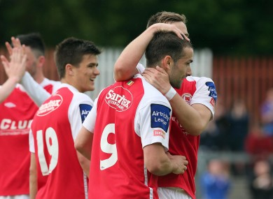 St Pat's player Christy Fagan celebrates after scoring the opening goal.