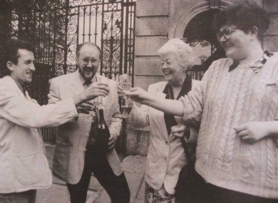 Kieran Rose, Chris Robson, Phil Moore and Suzy Byrne celebrate the decriminalisation