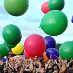The crowd are treated to giant balloons as part of the 30 Seconds to Mars  performance during the Download Festival at Castle Donington. (Lewis Stickley/PA Wire)