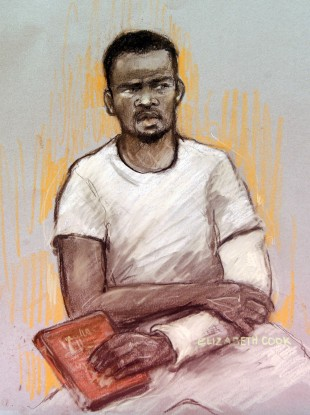 A courtroom sketch by artist Elizabeth Cook shows Michael Adebolajo at his first court appearance on Monday