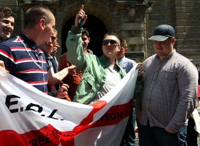 EDL leader Tommy Robinson (centre) with EDL supporters outside the Old Bailey earlier this month