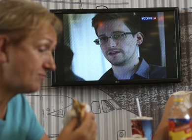 Coverage of the Snowden case being broadcast in a café in Moscow Airport