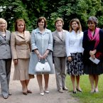 Partners of G8 leaders, from left, Ludmila Putina, Laureen Harper, Cherie Blair, Flavia Prodi, Margarida Uva and Alie Abe, visit Schlosshotel Burg Schlitz, an old German castle on the first day of the G8 Summit in Heiligendamm, Germany in 2007. (Image: Stefan Rousseau/PA Wire)