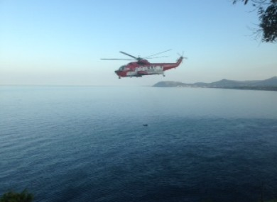 The Coast Guard helicopter performs a cliff rescue in Co Dublin.