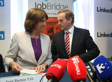 Taoiseach Enda Kenny and Minister for Social Protection Joan Burton at the launch in 2011.