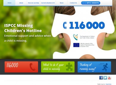 The website of the ISPCC's Missing Children's Hotline