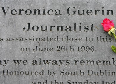 A plinth marks the spot on the Naas road in Dublin were journalist Veronica Guerin was shot dead