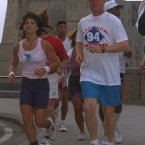 President Clinton out for a jog along the Naples waterfront on 8 July, 1994 where the G7 leaders were meeting. (AP Photo/Marcy Nighswander)