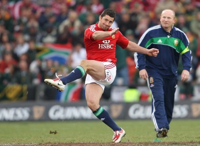 Rob Kearney attempts a penalty for the Lions in 2009.