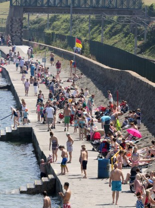 The packed bathing area at Seapoint in Co Dublin this afternoon