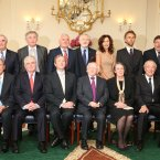 Council of State members from the back row: Professor Gearoid O'Tuathaigh, The Hon Mrs Justice Catherine McGuinness, The Hon Mr Justice John Murray, The Hon Mr Justice Ronan Keane, former Taoiseach Bertie Ahern, Mr Michael Farrell, Prof Deirdre Heehan, Mr Ruari Mc Kiernan, Former Taoiseah Brian Cowen, Professor Gerard Quinn and Ms Sally Mulready. Front row left to right: Former President Mary McAleese, Cathaoirleach of the Seanad Paddy Burke, Ceann Comhairle of the Dáil Seán Barrett, Tanaiste Eamon Gilmore, Taoiseach Enda Kenny, President Michael D Higgins, Ms Susan Denham Chief Justice, The Hon Mr Justice Nicholas Kearns, Ms Marie whelan Attorney General and former Taoiseach Liam Cosgrave. Pic Sasko Lazarov/Photocall Ireland