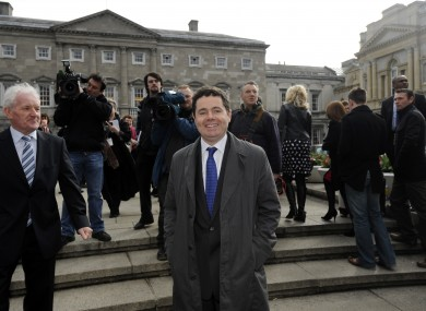 Paschal Donohoe arrives at the Dail for the first sitting of the 31st Dail on 9 March 2011