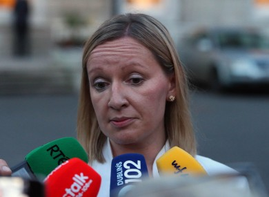 Lucinda Creighton outside Leinster House yesterday evening.
