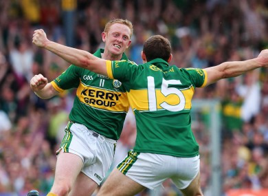 Colm Cooper celebrates scoring a goal against Cork.