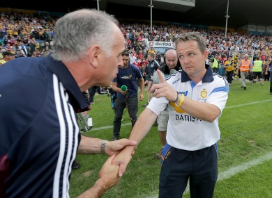 Clare manager Davy Fitzgerald with Galway manager Anthony Cunningham after the game.